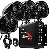 GoHawk TJ4-Q 1000W 4 Channel Amplifier 4' Full Range Waterproof Bluetooth Motorcycle Stereo Speakers...